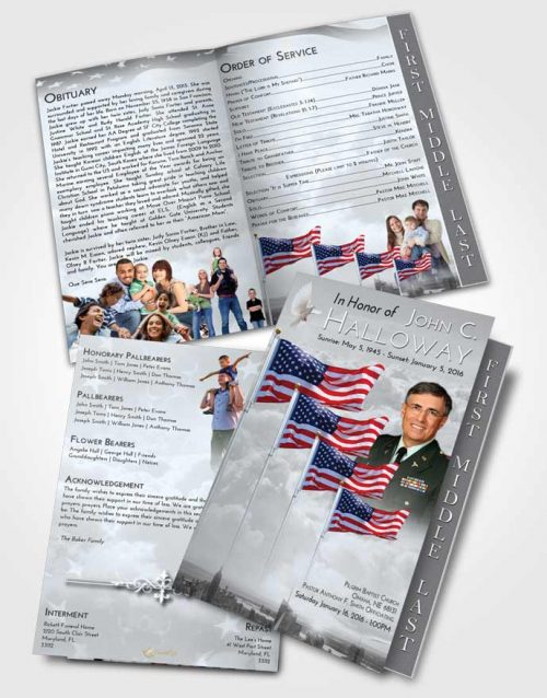 2 Page Graduated Step Fold Funeral Program Template Brochure Americas Finest Freedom