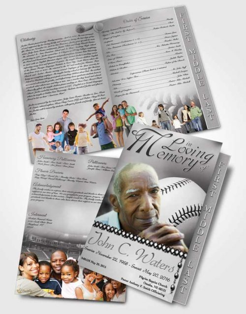 2 Page Graduated Step Fold Funeral Program Template Brochure Baseball Day Black and White