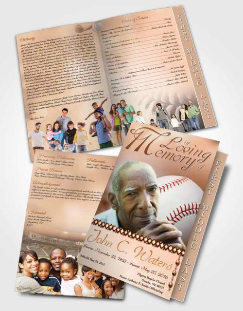 2 Page Graduated Step Fold Funeral Program Template Brochure Baseball Day Early Morning