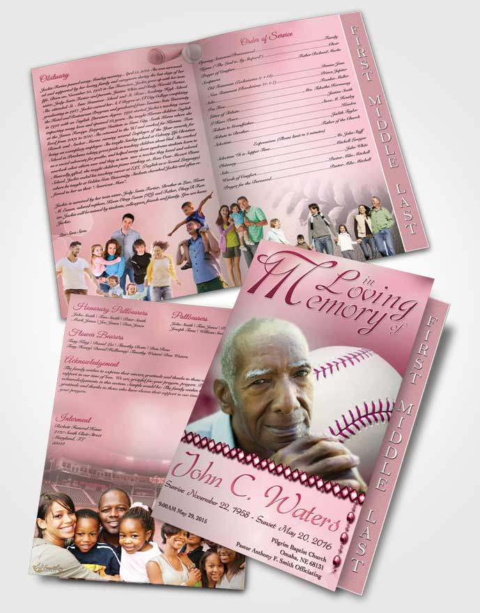 2 Page Graduated Step Fold Funeral Program Template Brochure Baseball Day Pink Sunset