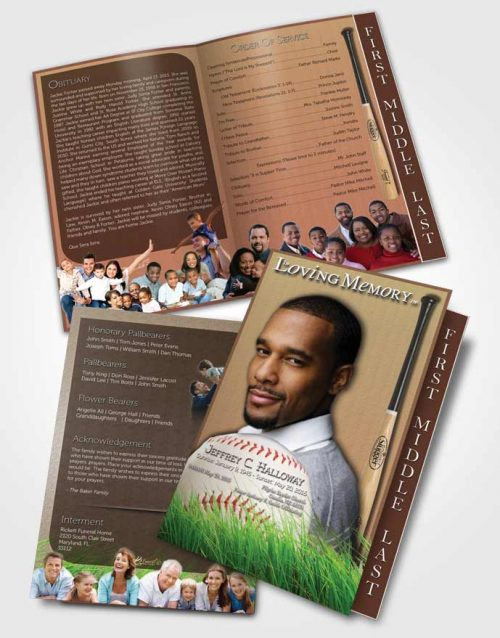 2 Page Graduated Step Fold Funeral Program Template Brochure Beach Front Baseball Star Dark