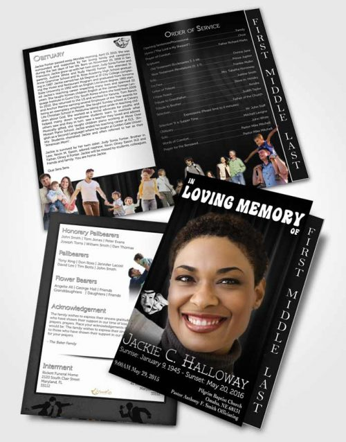 2 Page Graduated Step Fold Funeral Program Template Brochure Black and White Actor
