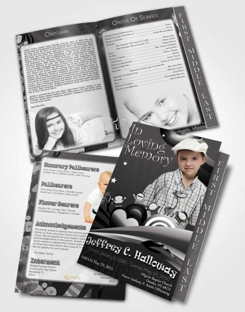 2 Page Graduated Step Fold Funeral Program Template Brochure Black and White Childs Journey