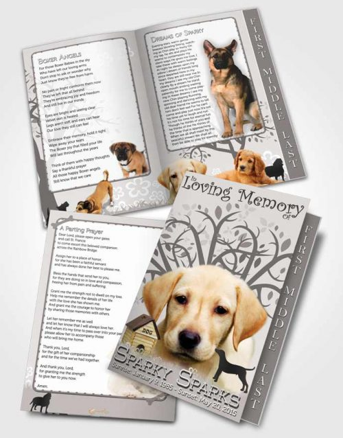 2 Page Graduated Step Fold Funeral Program Template Brochure Black and White Doggy Heaven