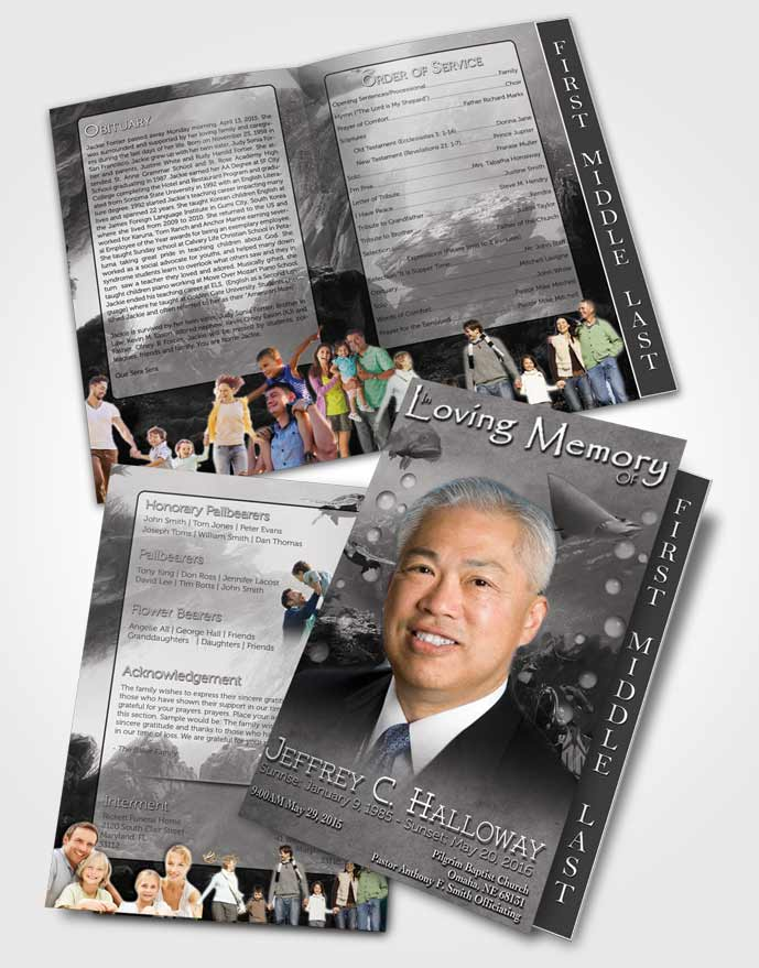 2 Page Graduated Step Fold Funeral Program Template Brochure Black and White Water Lover