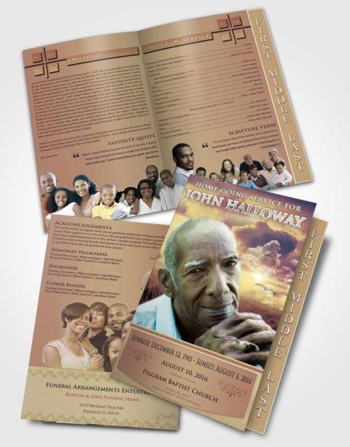 2 Page Graduated Step Fold Funeral Program Template Brochure Blissful Sparkling Sky