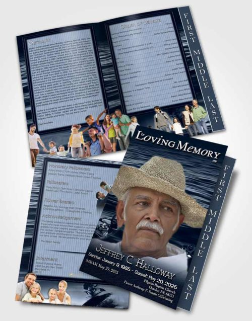 2 Page Graduated Step Fold Funeral Program Template Brochure Blue Water Sports