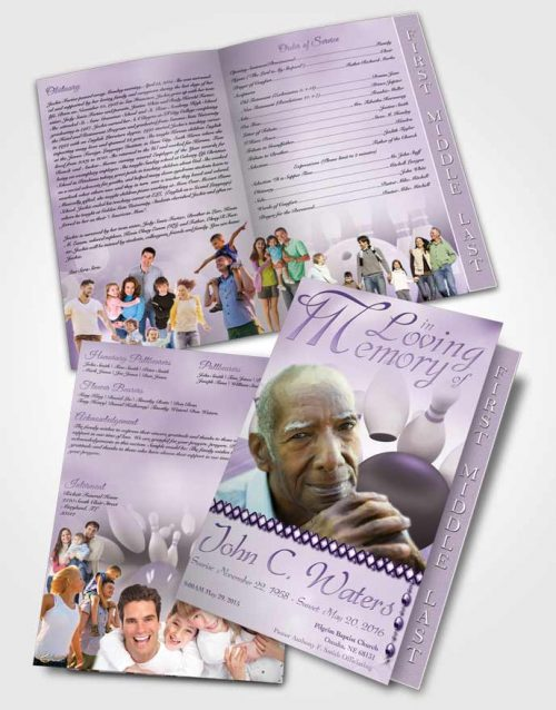 2 Page Graduated Step Fold Funeral Program Template Brochure Bowling Days Lavender Honor