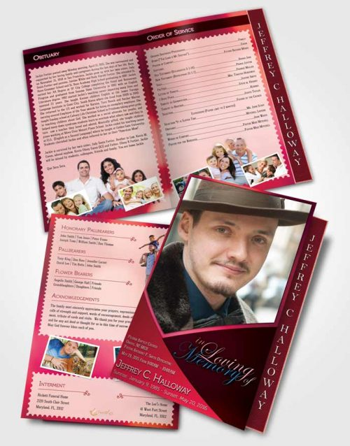 2 Page Graduated Step Fold Funeral Program Template Brochure Crystal Harmony Cerise Light