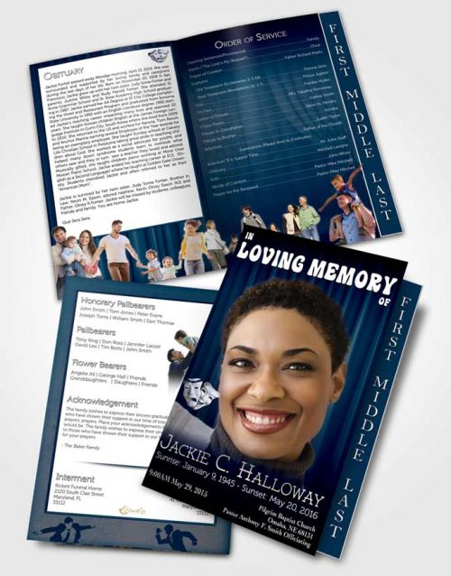2 Page Graduated Step Fold Funeral Program Template Brochure Deep Blue Actor