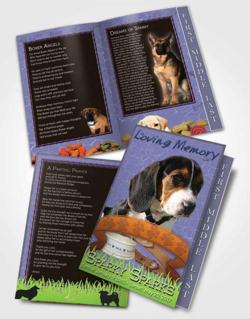2 Page Graduated Step Fold Funeral Program Template Brochure Deep Blue Sparky the Dog