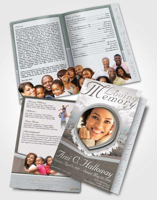 2 Page Graduated Step Fold Funeral Program Template Brochure Early Morning Splendor