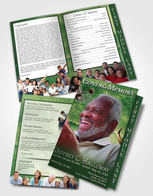 2 Page Graduated Step Fold Funeral Program Template Brochure Emerald Basketball Star