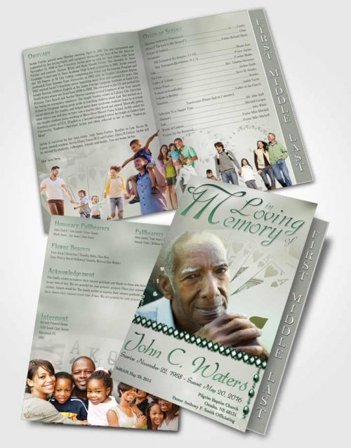 2 Page Graduated Step Fold Funeral Program Template Brochure Emerald Royal Flush