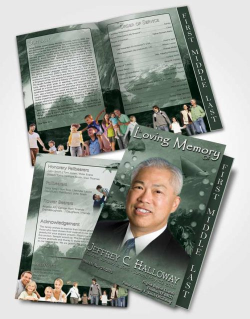 2 Page Graduated Step Fold Funeral Program Template Brochure Emerald Water Lover