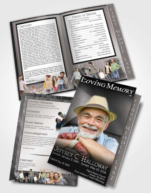 2 Page Graduated Step Fold Funeral Program Template Brochure Filipino Black and White Spirit