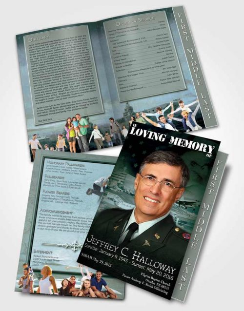 2 Page Graduated Step Fold Funeral Program Template Brochure Forest Navy Salute