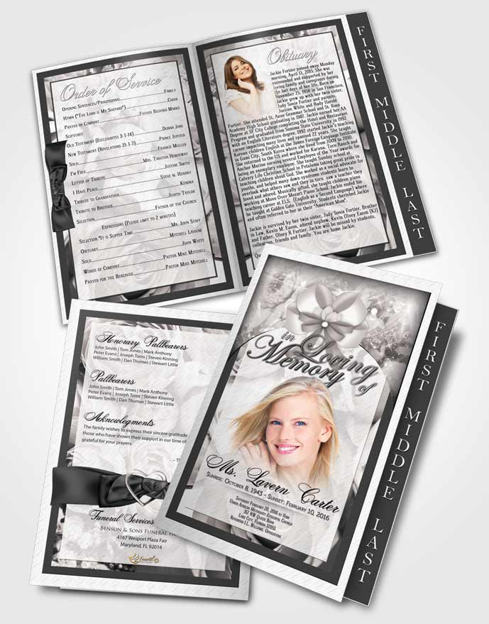 2 Page Graduated Step Fold Funeral Program Template Brochure Free Petals in the Wind