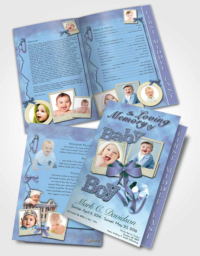 2 Page Graduated Step Fold Funeral Program Template Brochure Gentle Baby Boy