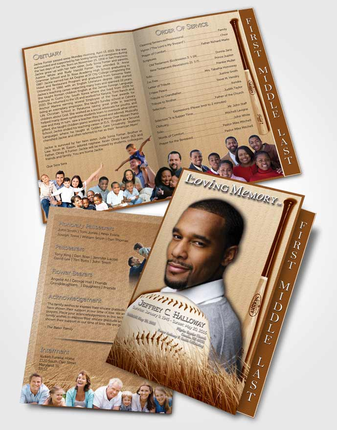 2 Page Graduated Step Fold Funeral Program Template Brochure Golden Baseball Star Light