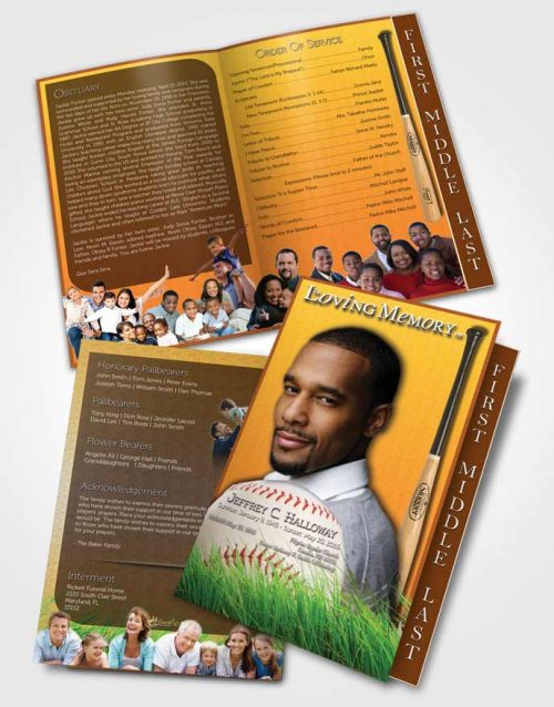 2 Page Graduated Step Fold Funeral Program Template Brochure Golden Sunrise Baseball Star Dark
