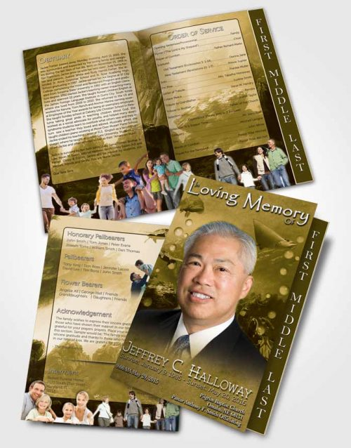 2 Page Graduated Step Fold Funeral Program Template Brochure Golden Water Lover