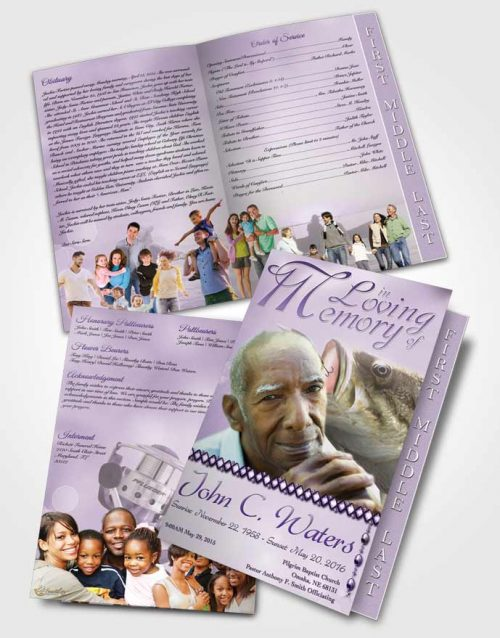 2 Page Graduated Step Fold Funeral Program Template Brochure Gone Fishing Lavender Honor