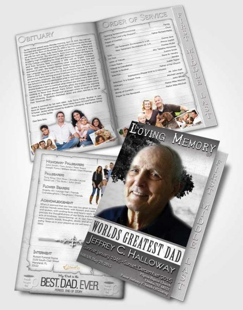 2 Page Graduated Step Fold Funeral Program Template Brochure Greatest Dad Black and White
