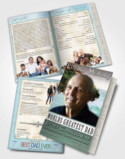 2 Page Graduated Step Fold Funeral Program Template Brochure Greatest Dad Early Fall