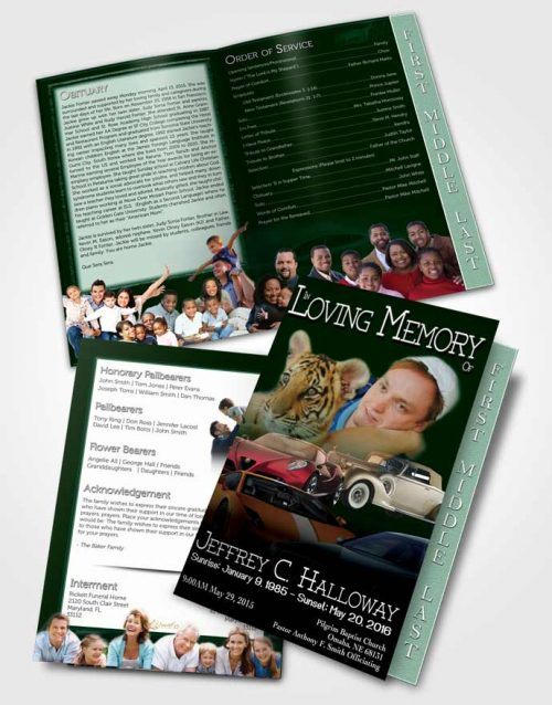 2 Page Graduated Step Fold Funeral Program Template Brochure Green Diamond Car Enthusiast