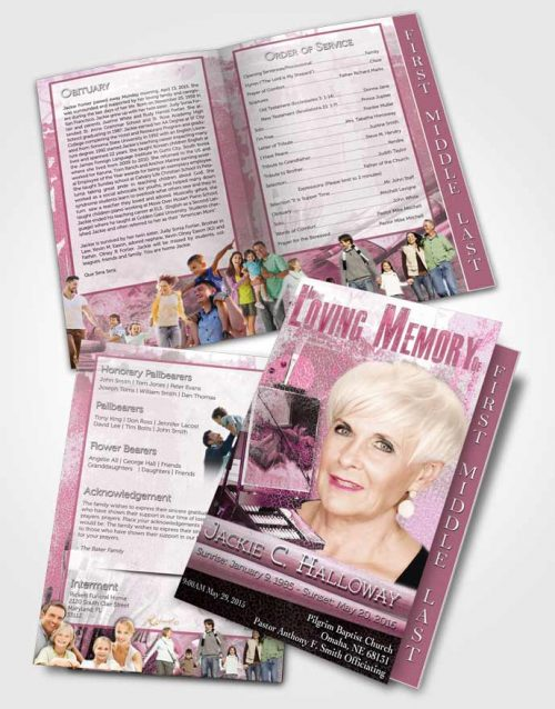 2 Page Graduated Step Fold Funeral Program Template Brochure Heavenly Pink Painters Paradise
