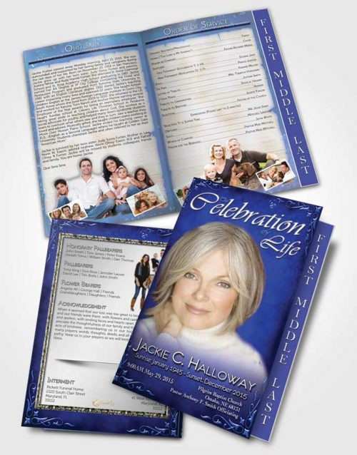 2 Page Graduated Step Fold Funeral Program Template Brochure Heavens Touch Blue Waters