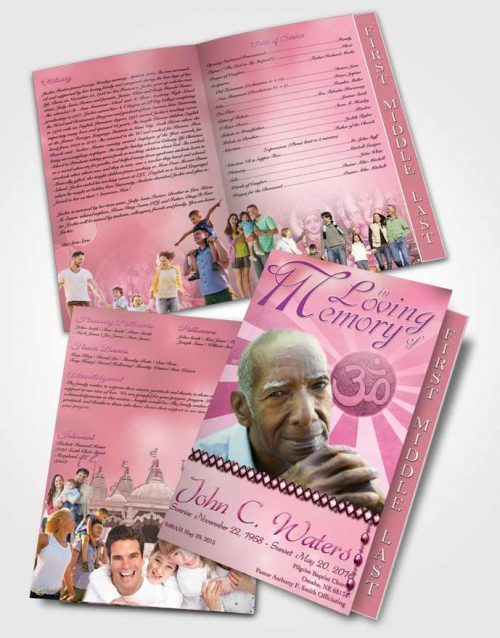 2 Page Graduated Step Fold Funeral Program Template Brochure Hinduism Faith Pink Lust
