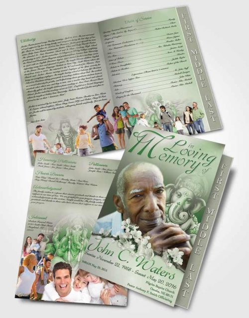 2 Page Graduated Step Fold Funeral Program Template Brochure Hinduism Glory Emerald Glow