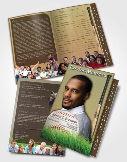 2 Page Graduated Step Fold Funeral Program Template Brochure Home Run Baseball Star Dark