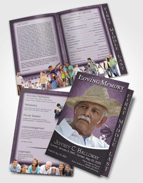 2 Page Graduated Step Fold Funeral Program Template Brochure Lavender Doctor