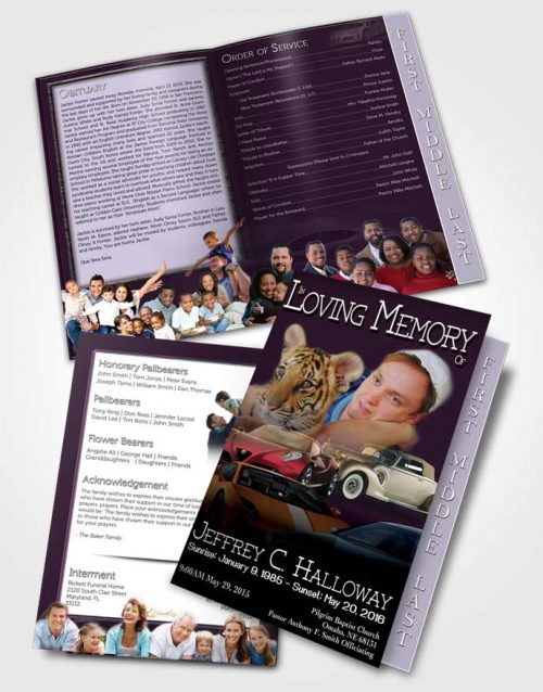 2 Page Graduated Step Fold Funeral Program Template Brochure Lavender Love Car Enthusiast