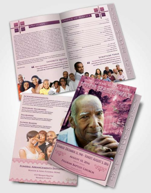 2 Page Graduated Step Fold Funeral Program Template Brochure Lavender Love Forest Laughter