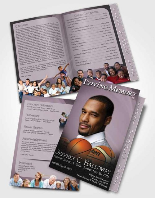 2 Page Graduated Step Fold Funeral Program Template Brochure Lavender Mist Basketball Lover Light