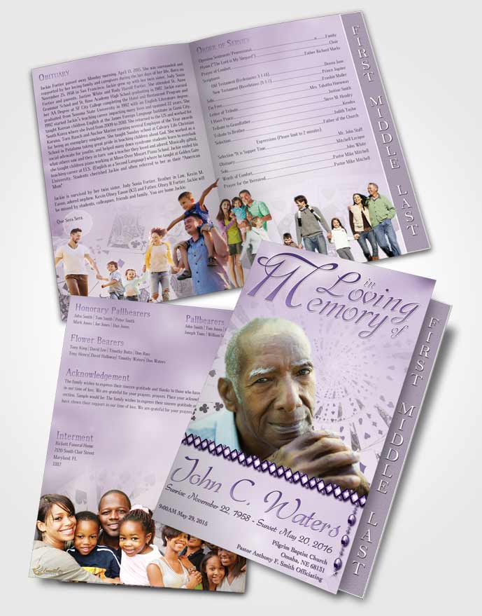 2 Page Graduated Step Fold Funeral Program Template Brochure Lets Play Lavender Cards