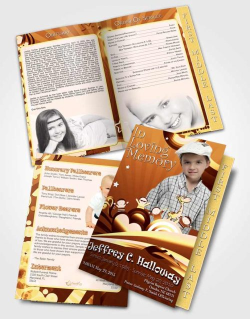 2 Page Graduated Step Fold Funeral Program Template Brochure Living in a Peach Childs Journey