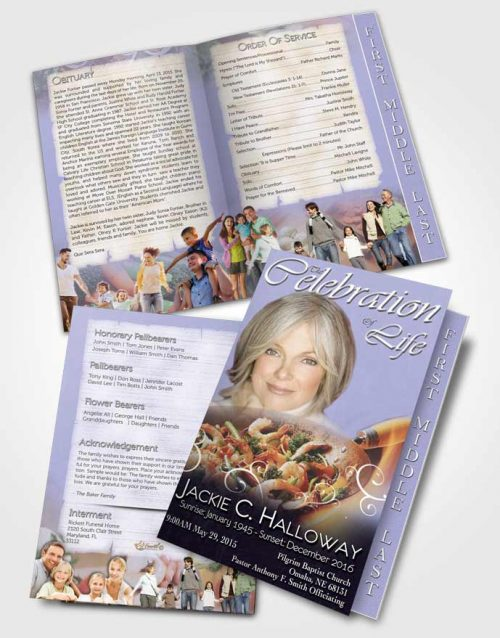 2 Page Graduated Step Fold Funeral Program Template Brochure Love of Lavender Cooking