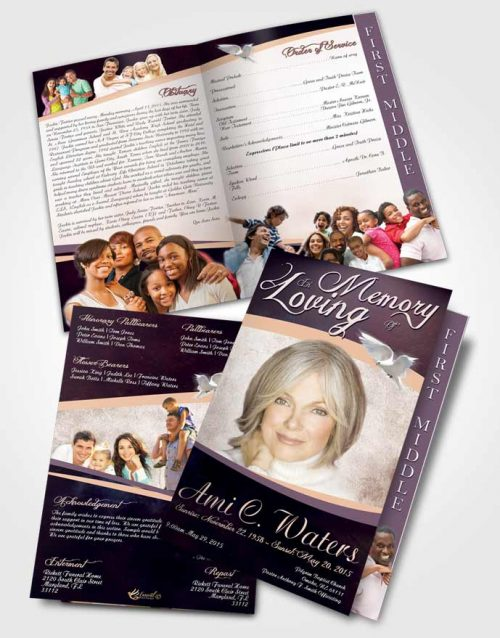 2 Page Graduated Step Fold Funeral Program Template Brochure Loving Paradise