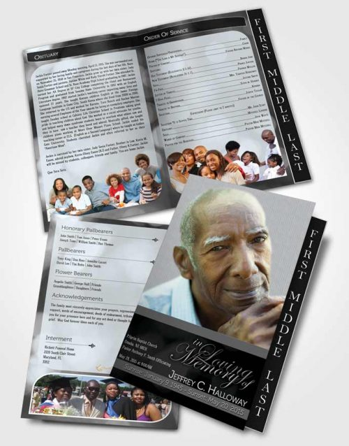 2 Page Graduated Step Fold Funeral Program Template Brochure Majestic Black and White Light