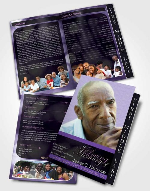 2 Page Graduated Step Fold Funeral Program Template Brochure Majestic Lavender Rain Dark