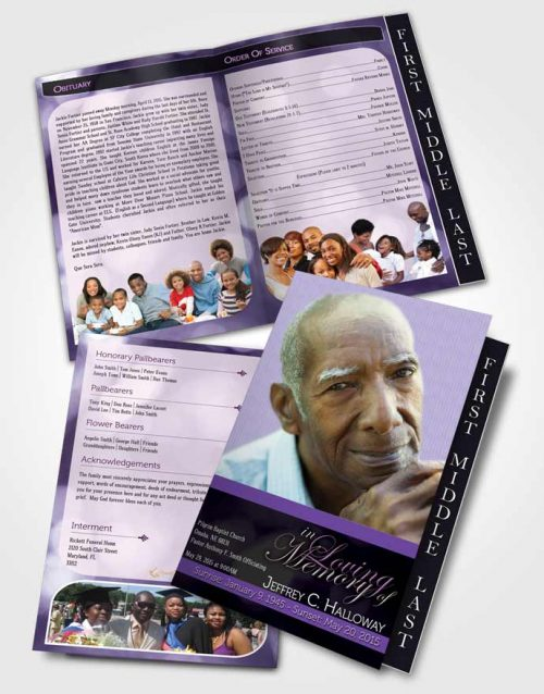 2 Page Graduated Step Fold Funeral Program Template Brochure Majestic Lavender Rain Light