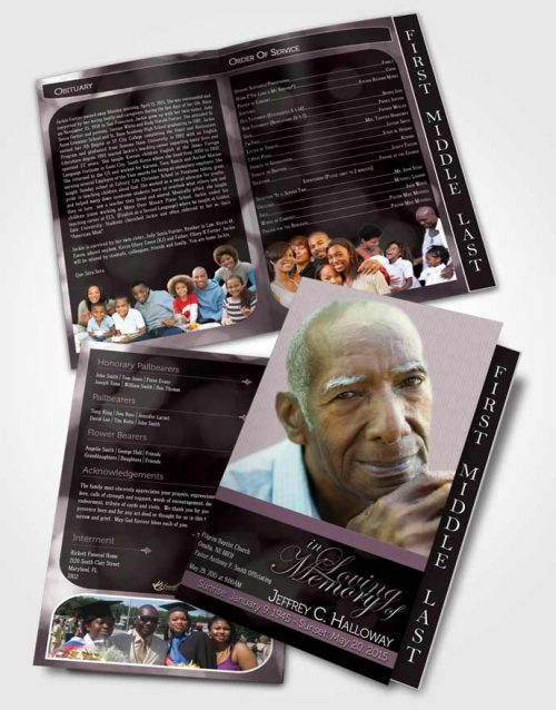 2 Page Graduated Step Fold Funeral Program Template Brochure Majestic Soft Sunrise Dark