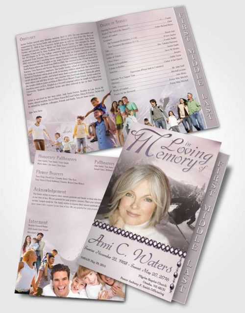 2 Page Graduated Step Fold Funeral Program Template Brochure Midnight Downhill Skiing