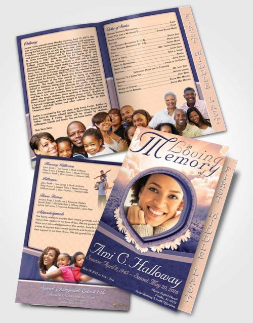 2 Page Graduated Step Fold Funeral Program Template Brochure Morning Ocean Splendor