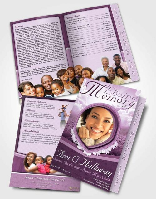 2 Page Graduated Step Fold Funeral Program Template Brochure Morning Splendor